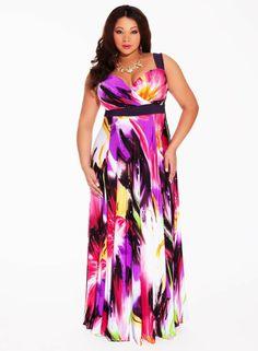 robe longue en couleurs vives pour femme ronde