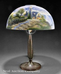 Antique lamps antique light reverse painted lamp pittsburg for a handel style lamp 20th c reverse painted shade with american lighthouse aloadofball Images