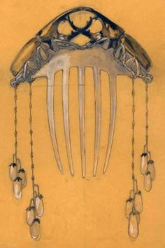 René Lalique - Hair Comb Design. France. Circa 1900.  Wow.  i'd love to find something like that at one of the antique shops around here.  Just WOW