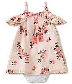 Rare Editions Baby Girls 3-24 Months Cold-Shoulder Floral-Printed A-Line Dress