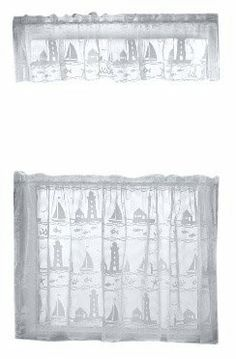 Heritage Lace Harbor Lights by Runner, White White Valance, Lazy Summer Days, Harbor Lights, Kitchen Window Treatments, Thing 1, Sea Birds, Marine Life, Home Kitchens, Lighthouse