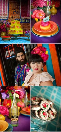 Photo Shoot from Cinco de Mayo wedding--lots of bright colors and good ideas for a par-tay!