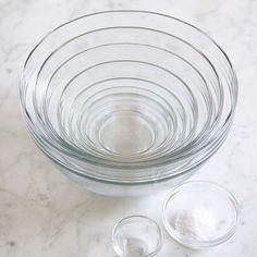 10-Piece Glass Mixing Bowl Set #williamssonoma -- I have owned a set for years, but two of the bowls, including the largest, have disappeared!