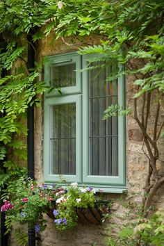 A Chartwell Green PVCu window surrounded by leafing wisteria and spring planted window basket. Pvc Windows, Casement Windows, Energy Efficient Windows, Spring Plants, Wisteria, My Dream, Home Improvement, Building, Glass