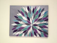 Wall Art: made with canvas, paint, Mod Podge and scrapbook paper.
