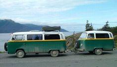 VW pulling a VW mini trailer #campingvw