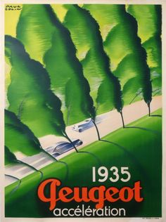 peugeot acceleration paul colin : 1935 antique vintage posters from COLIN.P Paul