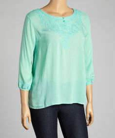 mint embroidered 3/4 sleeve top