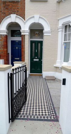 classic 50 black and white mosaic tile path new garden wall with york stone caps metal wrought iron rail and gate balham london (1)