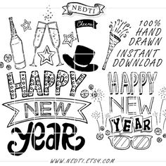 30 Happy New Year Hand Drawn Lineart Clipart Elements by Nedti
