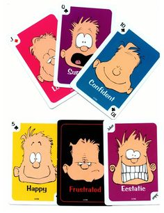 Deck includes directions for Go Feelings (Go Fish), Frustrated (Old Maid), Concentration, Bingo Feeling-O, Crazy 8s, Snap, Beggar My Neighbor, Twenty-One, Slap-jack, and Rummy.