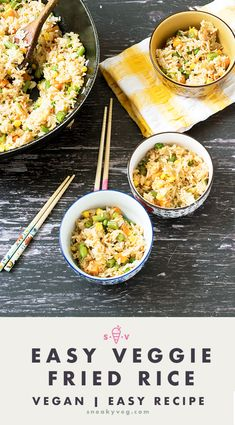 This colourful veggie fried rice recipe is a quick, healthy dinner that's suitable for vegans and vegetarians. It's always popular with the kids and is a great way to use up leftover rice. Vegetarian Meals For Kids, Healthy Eating For Kids, Vegetarian Recipes, Healthy Rice, Healthy Side Dishes, Vegetable Fried Rice, Vegetable Side Dishes, Veg Recipes, Easy Dinner Recipes