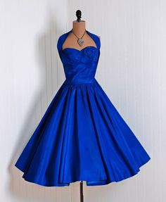 1950's Vintage Royal Blue Rhinestone Taffeta Dress