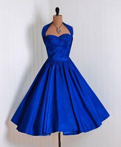 1950's Vintage Royal Blue Rhinestone Taffeta Dress