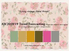 AW2018/2019 Trend Forecasting for Women, Men, Intimate, Sport Apparel - Lively vintage Floral Prints www.JudithNg.com