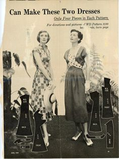 1940s Dress Pattern Bust 32 Uncut Womans Day 3180 by CynicalGirl