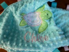 Personalized baby blanket minky- sea turtle aqua, pink and green lovey blanket
