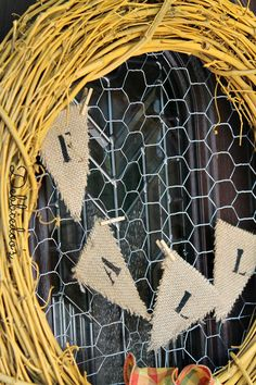 #Fall wreath with chicken wire, #burlap and spray painted grapevine simple, rustic LOVE