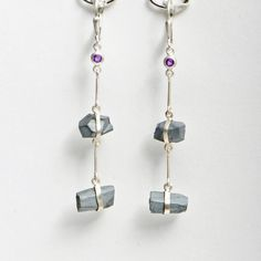 Hematite & Amethyst - Satin Silver Link Earrings