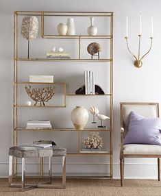 Our Elegant Étagère, inspired by design, features ample shelving space to fill. Hand-applied gold leaf finish and glass shelves add a sophisticated touch. Elegant Home Decor, Elegant Homes, Living Room Shelves, Living Room Decor, Diy Projects On A Budget, Frame Shelf, Shelving Design, Counter Height Table, Laundry Room Storage