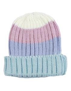 Blue Striped Ribbed Knitted Kids Beanie Hat #ChiaraFashion