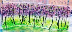 Unique fused glass freestanding panel. Beautiful landscape of impressionistic style lilac trees by AandDCreationsGlass on Etsy https://www.etsy.com/listing/215051934/unique-fused-glass-freestanding-panel
