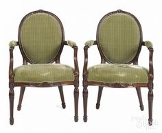 Pair of George III carved mahogany dining chairs, late 18th c. - Price Estimate: $800 - $1200