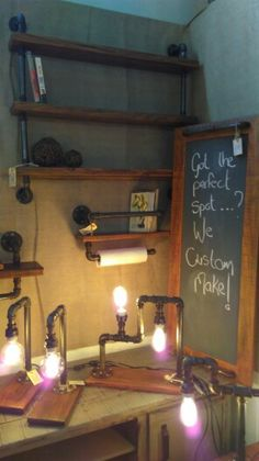 Our steampunk inspired shelves,lights and chalkboard tray in action Metal Pipe, Wood Detail, Steam Punk, Make And Sell, Four Square, Chalkboard, Create Your Own, Tray, Action