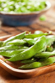 Edamame. I love snacking on these things! Protein, iron, estrogen booster, just flat out good for us ladies!