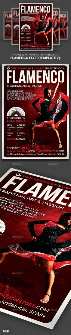 Flamenco Flyer Template V3 � Photoshop PSD #sexy #spain � Available here ? https://graphicriver.net/item/flamenco-flyer-template-v3/6960282?ref=pxcr