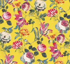 English Garden Mimosa (1806/811) - Prestigious Wallpapers - A bold floral trail with flamboyant flowers and cute garden birds.Shown here in pinks, blues, greens and orange on a vivid yellow background. Other colourways are available. Please request a sample for a true colour match. Wide width product. Paste-the-wall product. Pattern repeat is 126.97cm.