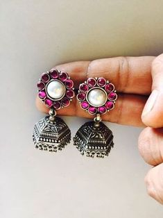 Exclusive 925 silver Ruby Jhumkas | Buy Online Silver jewellery | Elegant Fashion Wear