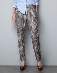 SEQUIN PRINT TROUSERS - Trousers - Woman - ZARA United States (this picture doesn't do these pants justice. zoom in and take a look.)