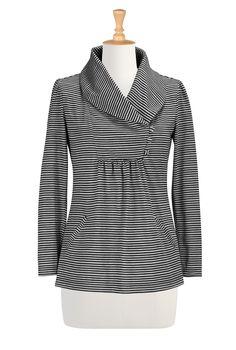Plus Size Tops For Women , With Collar Women's fashion design - Women's Tops, Dressy and Casual Tops, Tunics, Shirts, Tees - | eShakti.com