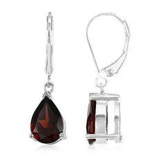 Genuine Mozambique Garnet Round 925 Sterling Silver Earrings (Choose Your Size) Silver Earrings, Drop Earrings, Garnet Stone, Decorative Bells, Gemstone Jewelry, White Gold, Orange, Sterling Silver, Handmade Jewelry