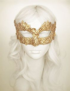 Sequined Gold Masquerade Mask With Rhinestones And Embroidery - Embellished Venetian Style Gold Masquerade Ball Mask