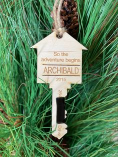 Great keepsake to commentate your first or your fifth house. Personalized Wood Signs, Personalized Ornaments, House Ornaments, Christmas Ornaments, And So The Adventure Begins, Business Signs, Letter Wall, Name Signs, Laser Engraving