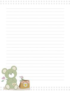 Free printable  teddy bear with flowers writing paper