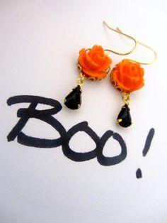Spooky Rose Earrings Pumpkin Orange Rose Vintage by PrettyonaWire, $16.00