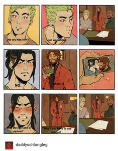 """daddyschlongleg: """" I redrew one of my fav supernatural scenes, slightly changed up. Here Hanzo made a deal with McCree to save Genji's life and Genji is asking the important questions. Overwatch Hanzo, Overwatch Comic, Overwatch Memes, Overwatch Fan Art, Supernatural, Yuri, Character Art, Character Design, Hanzo Shimada"""