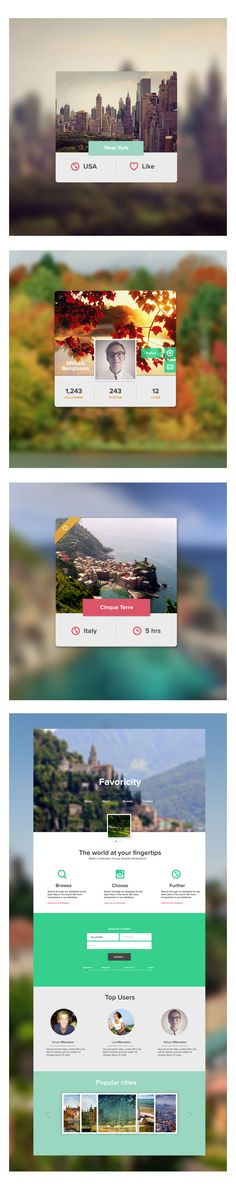 Favorite city UI by William Bengtsson, via Behance *** Browse through citys to find your favorite. Like, share and build your collection of favorite cities.
