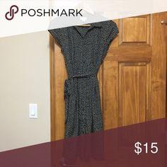 Motherhood Maternity Black & White Dress Size M Black & White polka dot button down dress with belt size medium Motherhood Maternity Dresses Midi