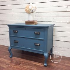 Vintage night stands painted in Seaside Blue from Fusion Mineral Paint