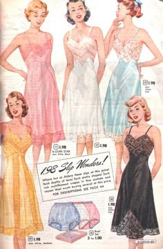 1950s slips lingerie history. Common colors were pink, peach, light blue, navy, yellow, Nile green, black and white.   #1950s #lingerie