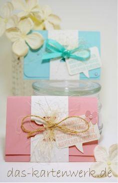 Karte fürs Baby, Geldgeschenk; Gutscheinkarte; Geschenk zur Geburt; Geschenk zur Taufe;Junge; Mädchen, blau; rosa; aquamarin; kirschblüte; stampin up; handgefertigt; KartenWerk; Auftragsarbeit; personalisierbar