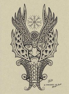 ✿ Tattoos ✿ Celtic ✿ Norse ✿ Odin Dotwork Tattoo Design by Raknarok-Ink