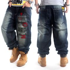 Men's Hip Hop Jeans Street Dance Washed Embroidery Loose Casual Skateboard Pants in Clothing, Shoes & Accessories, Men's Clothing, Jeans | eBay