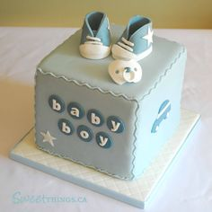 Baby Boy shower cake - absolutely love the simplicity clean look of this cake! the little fondant booties are cute too this cake could be built or customized in so many different ways! Baby Cakes, Cupcake Cakes, Pink Cakes, Baby Shower Cakes For Boys, Baby Boy Shower, Shower Bebe, Cute Cakes, Baby Birthday, Birthday Cake