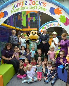 Eden District Council's Communities Portfolio Holder, Councillor Mike Slee opens Jungle Jack's Adventure Soft Play Area at Penrith Leisure Centre with children from the Muddy Boots Nursery at Newton Rigg College.