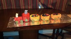 Birthday Fruit Train! All the kids in the daycare love it! Better than a birthday cake